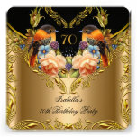 Elegant Gold Yellow Bird Black 70th Birthday Personalized Invitation
