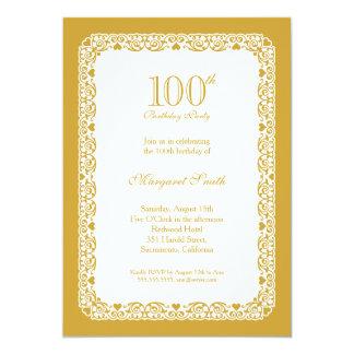 Elegant golden 100th birthday party Invitation