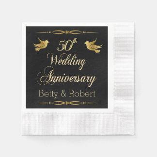 Elegant Golden 50th Wedding Anniversary Paper Napk Disposable Serviettes