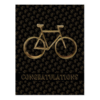 Elegant Golden Bike Bicycle Cycling Cyclist Postcard
