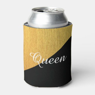 Elegant Golden Black Customizable Can Cooler