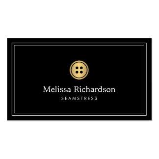 Elegant Golden Button Logo Seamstress, Tailor I Pack Of Standard Business Cards