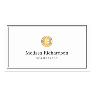 Elegant Golden Button Logo Seamstress, Tailor II Pack Of Standard Business Cards