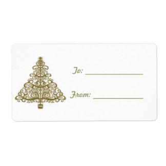 Elegant Golden Christmas Tree Gift Label Shipping Label