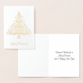 Elegant Golden Christmas Tree Greeting Card