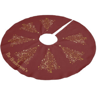 Elegant Golden Christmas Trees on Dark Red Brushed Polyester Tree Skirt