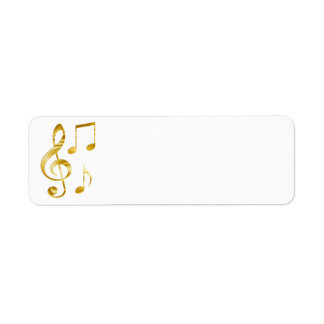 elegant golden clef music return address label