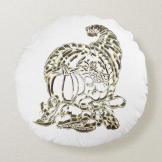 Elegant Golden Cornucopia Happy Thanksgiving Round Cushion