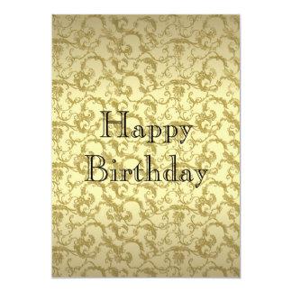 Elegant Golden Filigree Birthday Invitation Fancy