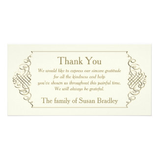 Elegant Golden Frame Sympathy Thank You Personalized Photo Card