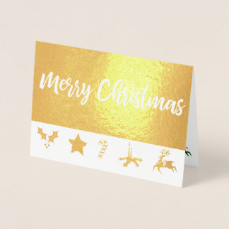 Elegant Golden Grungy Christmas Foil Greeting Card