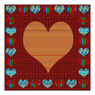 Elegant Golden Heart Abstract Artistic Creation Posters
