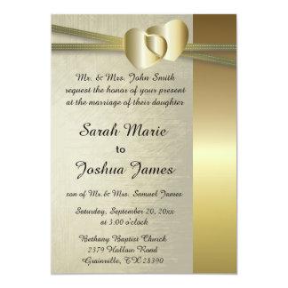 Elegant Golden Hearts Design 13 Cm X 18 Cm Invitation Card