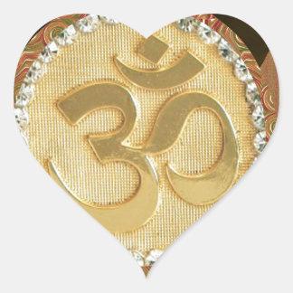 Elegant Golden OM MANTRA Chant Display Holy Symbol Heart Sticker