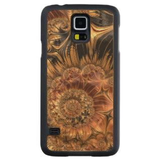 Elegant Golden Orange Cream Liquid Silk Fractal Maple Galaxy S5 Slim Case