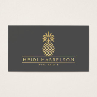 Elegant Golden Pineapple Logo on Gray