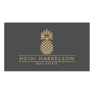 Elegant Golden Pineapple Logo on Gray Pack Of Standard Business Cards