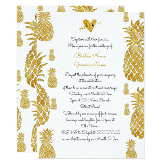 elegant golden pineapples tropical summer wedding 14 cm x 19 cm invitation card