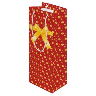 Elegant golden polka dots wine gift bag