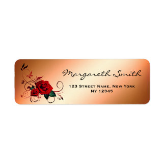Elegant Golden Red Rose Address Label
