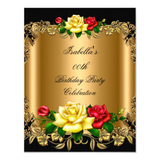 Elegant Golden Red Yellow Roses Birthday Party 2b Card