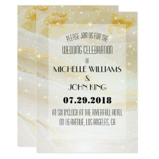 Elegant Golden Sparkling Lace Wedding Invitation