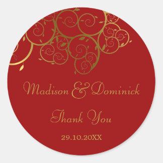 Elegant Golden Spiral Vines Classy Wedding Sticker