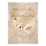 Elegant Golden Swans Formal Wedding Announcement Personalized Announcements