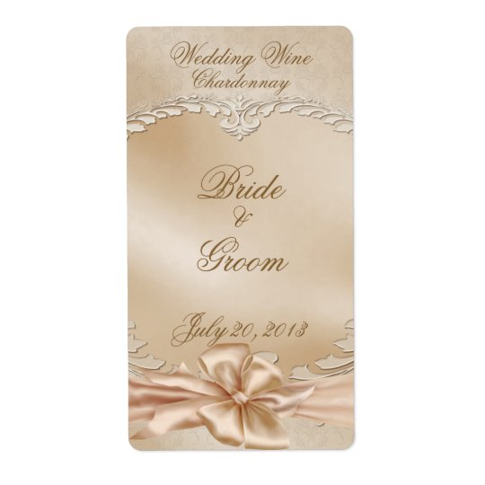 Elegant Golden Swans Wedding Wine Label Shipping Label
