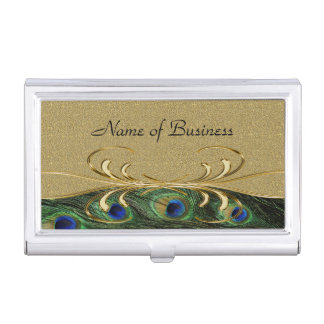 Elegant Golden Swirl Peacock Feathers Business Card Holder