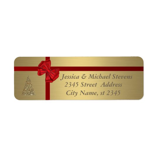 Elegant golden trendy holiday Christmas Return Address Label