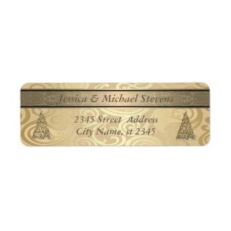 Elegant golden trendy holiday Christmas tree Return Address Label