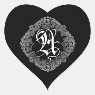 Elegant Goth Initial A Heart Sticker