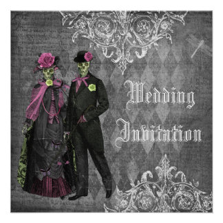 Elegant Gothic Bride Groom Skeletons Wedding Custom Invitation