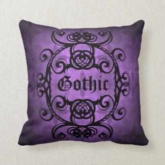 Elegant gothic damask purple and black decor cushion