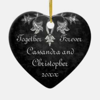 Elegant gothic dark romance together forever heart ceramic ornament