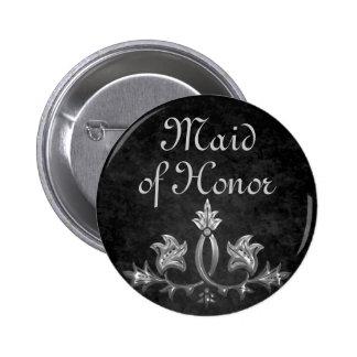 Elegant gothic dark romance wedding Maid of honor 6 Cm Round Badge
