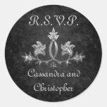 Elegant gothic dark romance wedding RSVP Round Sticker