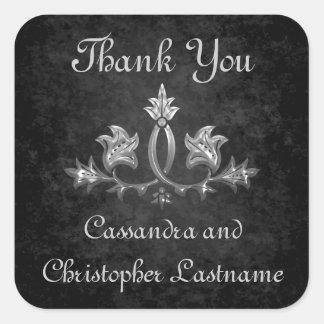 Elegant gothic dark romance wedding Thank you Square Sticker
