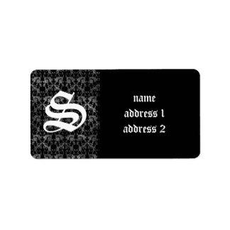 Elegant gothic grunge black and gray address label