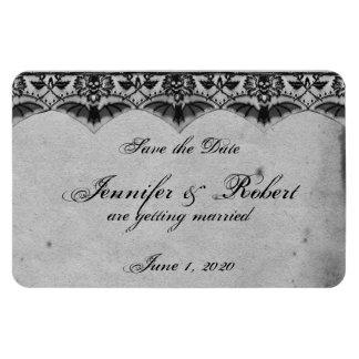 Elegant Gothic Lace Posh Wedding Save the Date Rectangular Photo Magnet