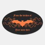 Elegant gothic victorian bat in orange on black sticker