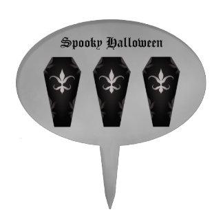 Elegant gothic victorian coffins for Halloween Cake Pick