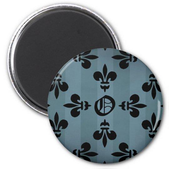 Elegant gothic victorian fleur de lys monogram O Magnet