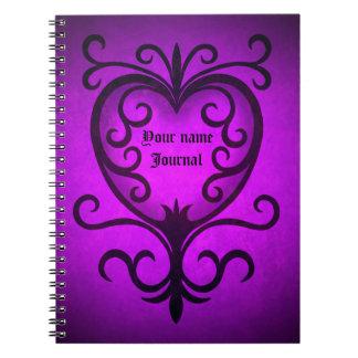 Elegant gothic victorian heart in purple notebooks