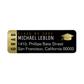 elegant graduation address label with name