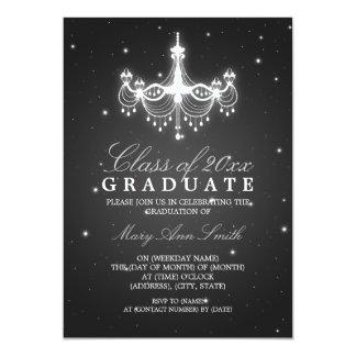 Elegant Graduation Party Classy Chandelier Black 13 Cm X 18 Cm Invitation Card