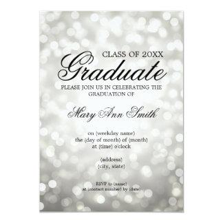 Elegant Graduation Party Sliver Glitter Lights 13 Cm X 18 Cm Invitation Card