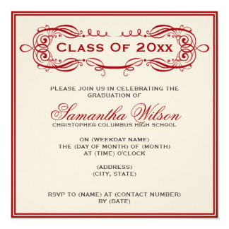 Elegant Graduation Party Vintage Swirls Red Card