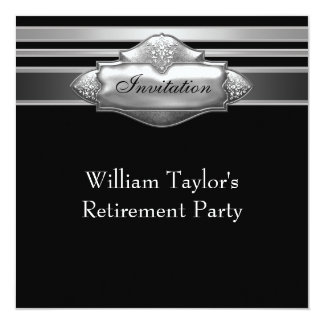 Elegant Gray and Black Mans Retirement Party 13 Cm X 13 Cm Square Invitation Card